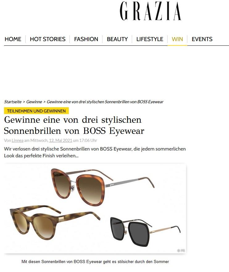 Jetzt BOSS Eyewear Sonnenbrille gewinnen GRAZIA Gewinnspiel
