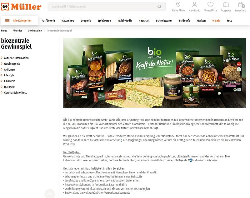 Jetzt Bio-Zentrale Produktpaket gewinnen Müller Gewinnspiel