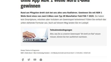 Jetzt E-Bike 2R MANUFAKTUR FOLD FXN 7 2020 gewinnen NDR 1 Welle Nord Gewinnspiel