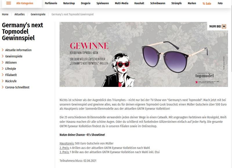 Jetzt GNTM Eyewear gewinnen Müller Gewinnspiel