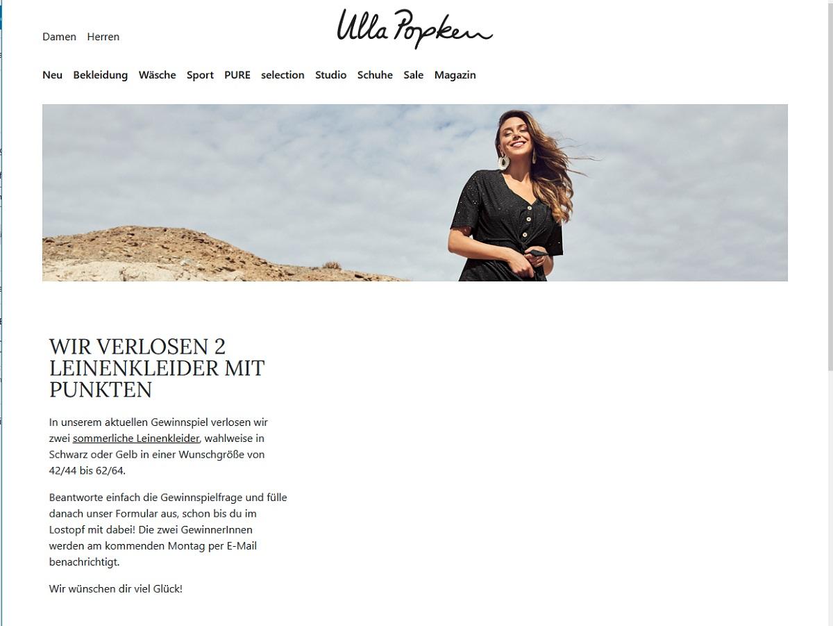 Gewinne ein Leinenkleid Ulla Popken Gewinnspiel