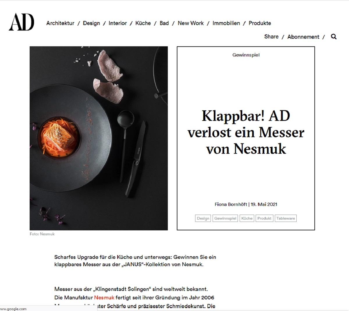 Gewinne ein Nesmuk Messer AD-Magazin Gewinnspiel