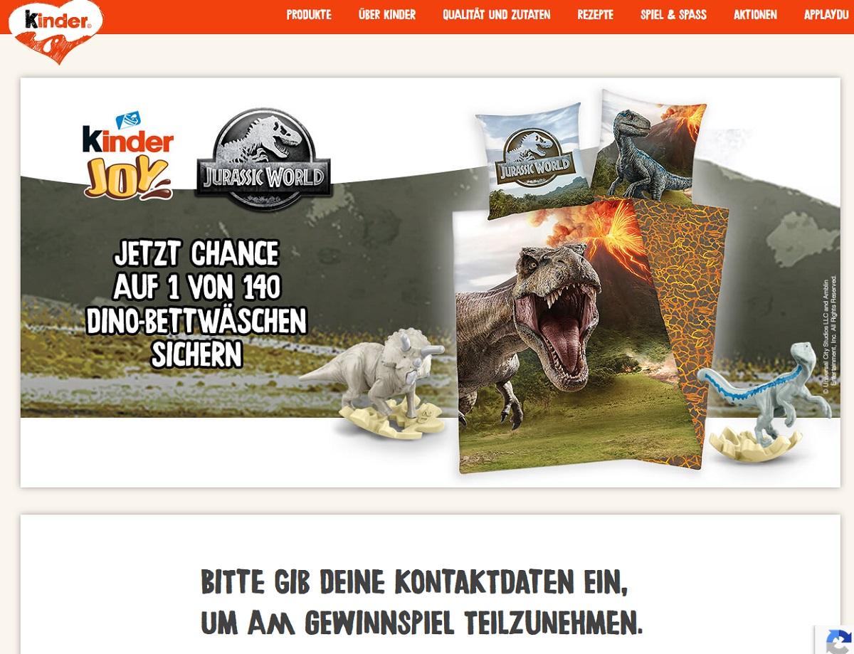 Gewinne ein kinder JOY Dino-Bettwäsche Ferrero Gewinnspiel