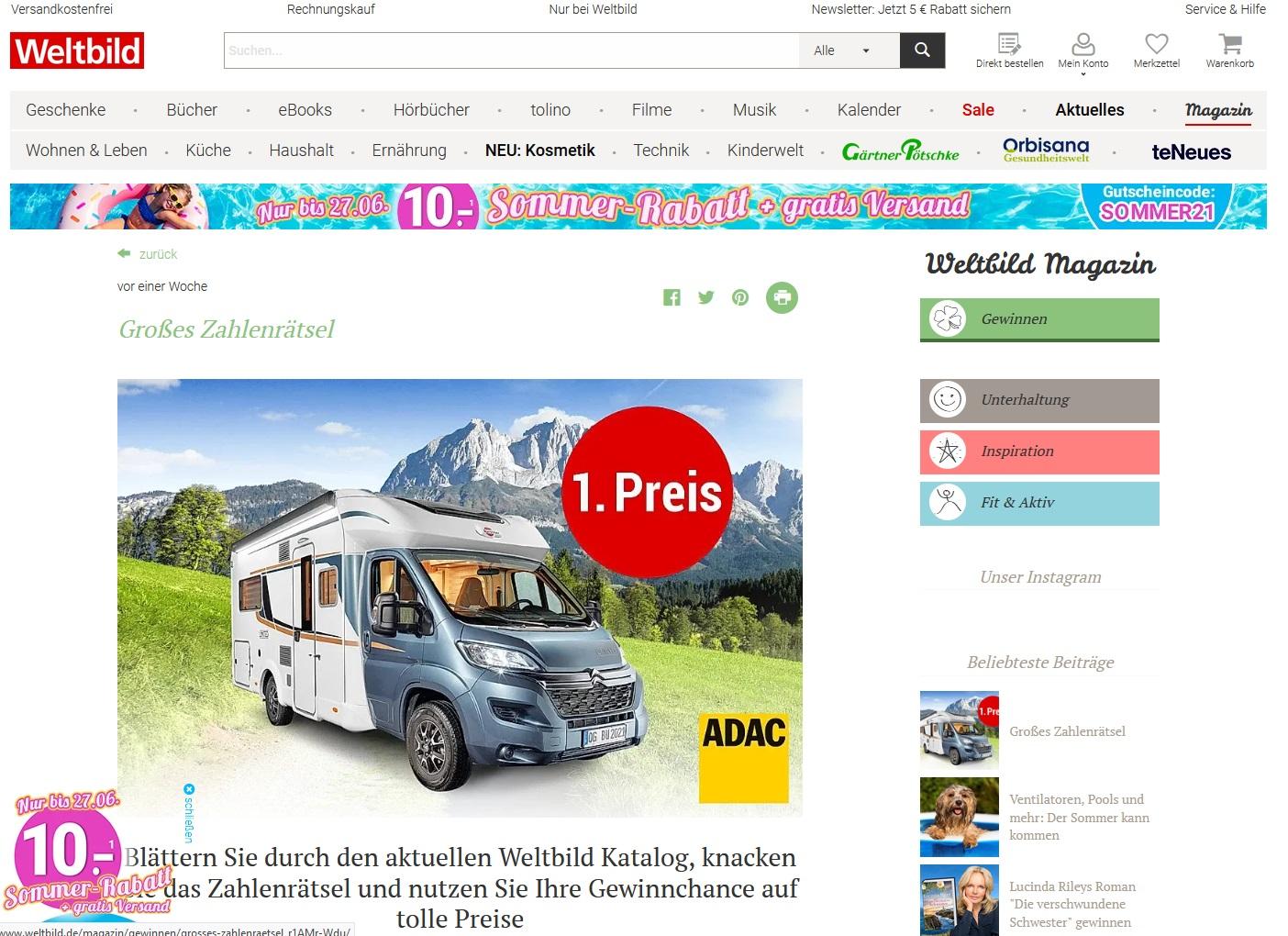 Gewinne einen Wohnmobil Urlaub Weltbild Gewinnspiel