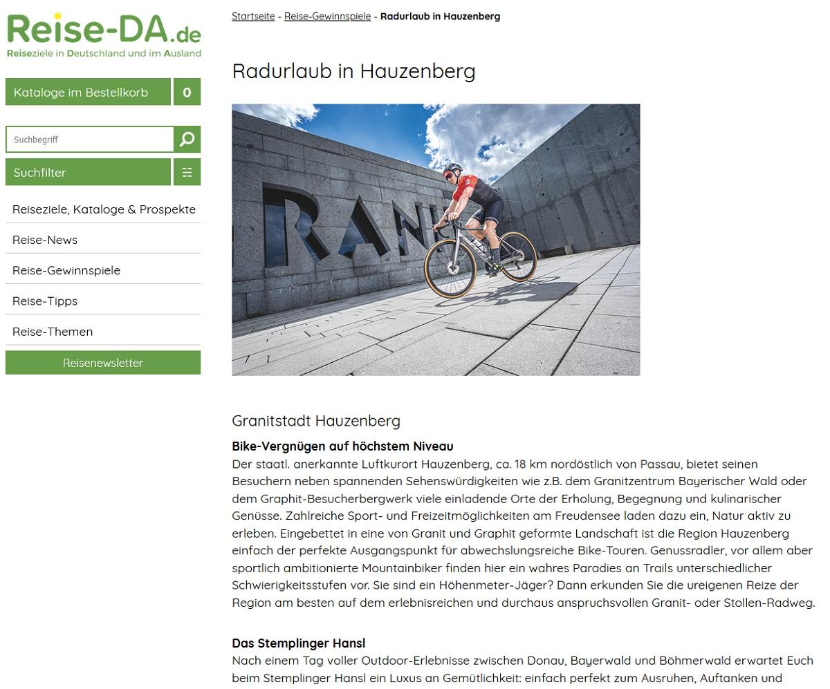 Jetzt Hauzenberg-Radurlaub gewinnen Reise-DA Gewinnspiel
