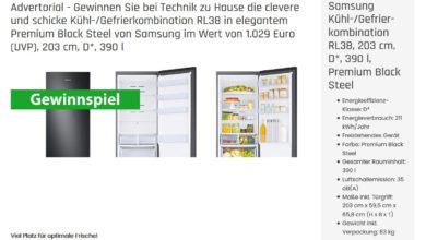 Jetzt Samsung Kühl Gefrierkombination RL38 gewinnen Technik zu Hause Gewinnspiel
