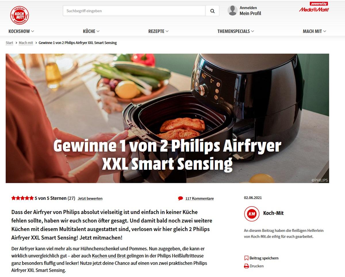 Philips Airfryer XXL Smart Sensin Heißluftfritteuse gewinnen MediaMarkt Gewinnspiel