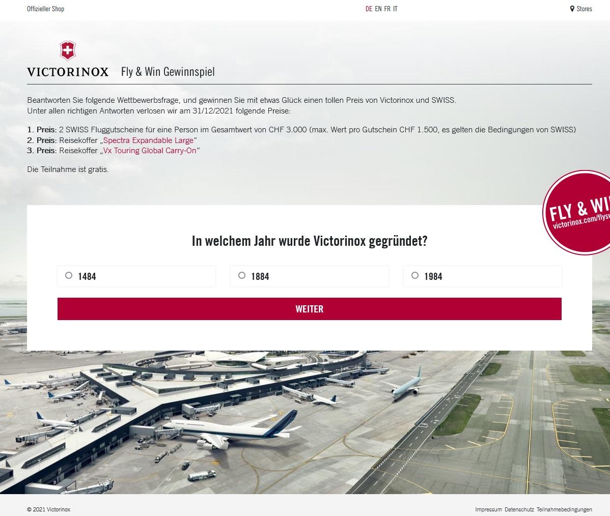 Jetzt 2 Fluggutscheine & 2 Reisekoffer gewinnen Victorinox & SWISS Gewinnspiel