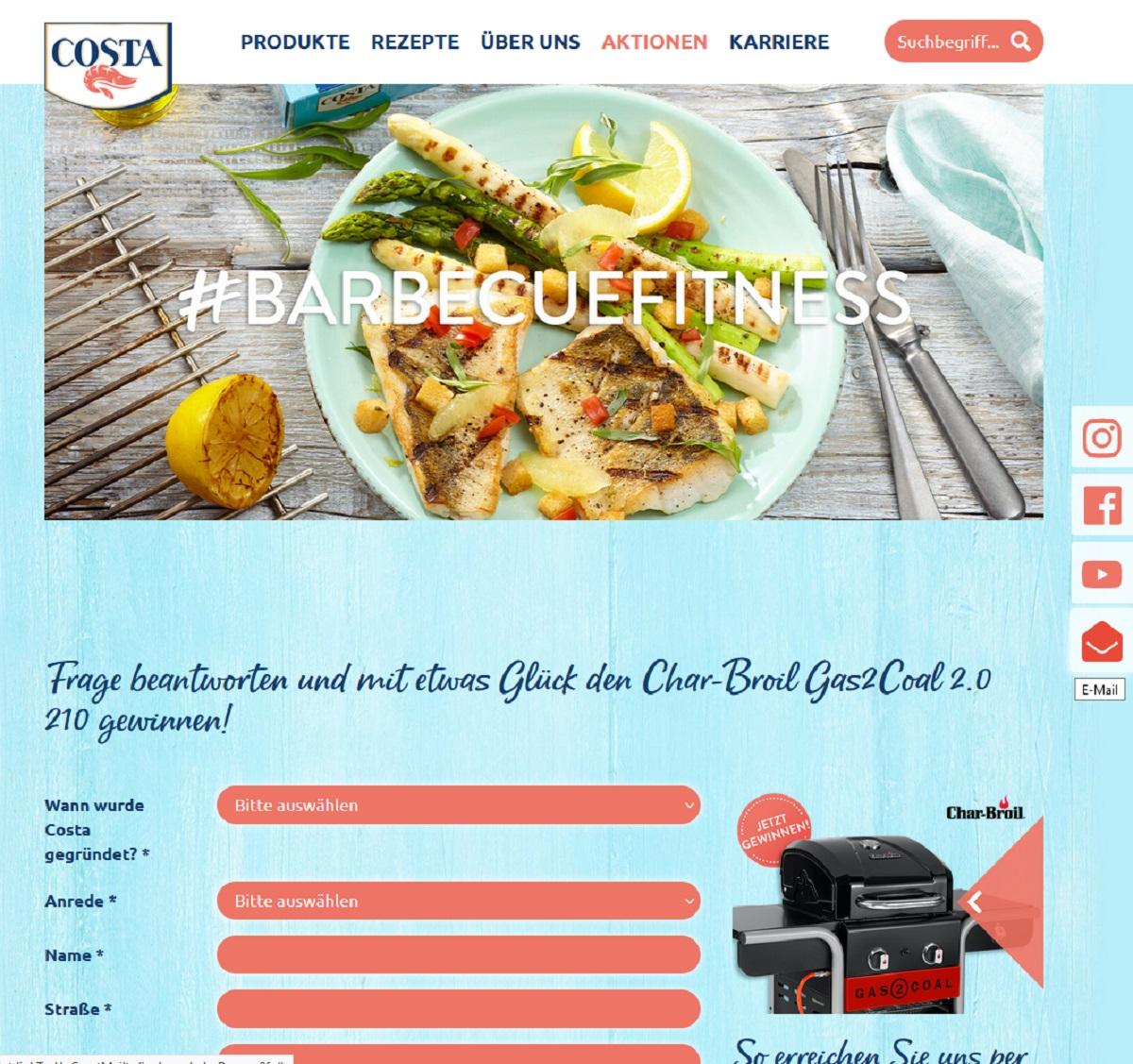 Jetzt Char-Broil Gas2Coal Grill gewinnen COSTA Gewinnspiel