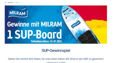 Gewinne ein Stand up Paddle Board: famila Gewinnspiel