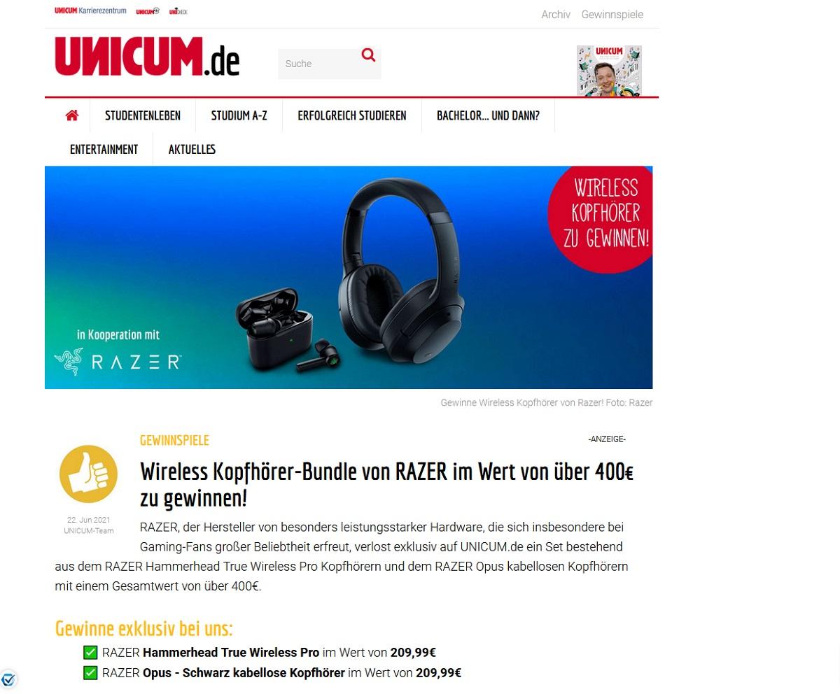 Jetzt RAZER Wireless Kopfhörer-Bundle gewinnen UNICUM Gewinnspiel