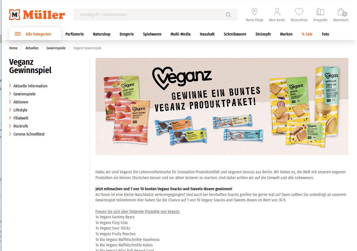 Jetzt Veganz Snacks-and-Sweets-Box gewinnen Müller Gewinnspiel