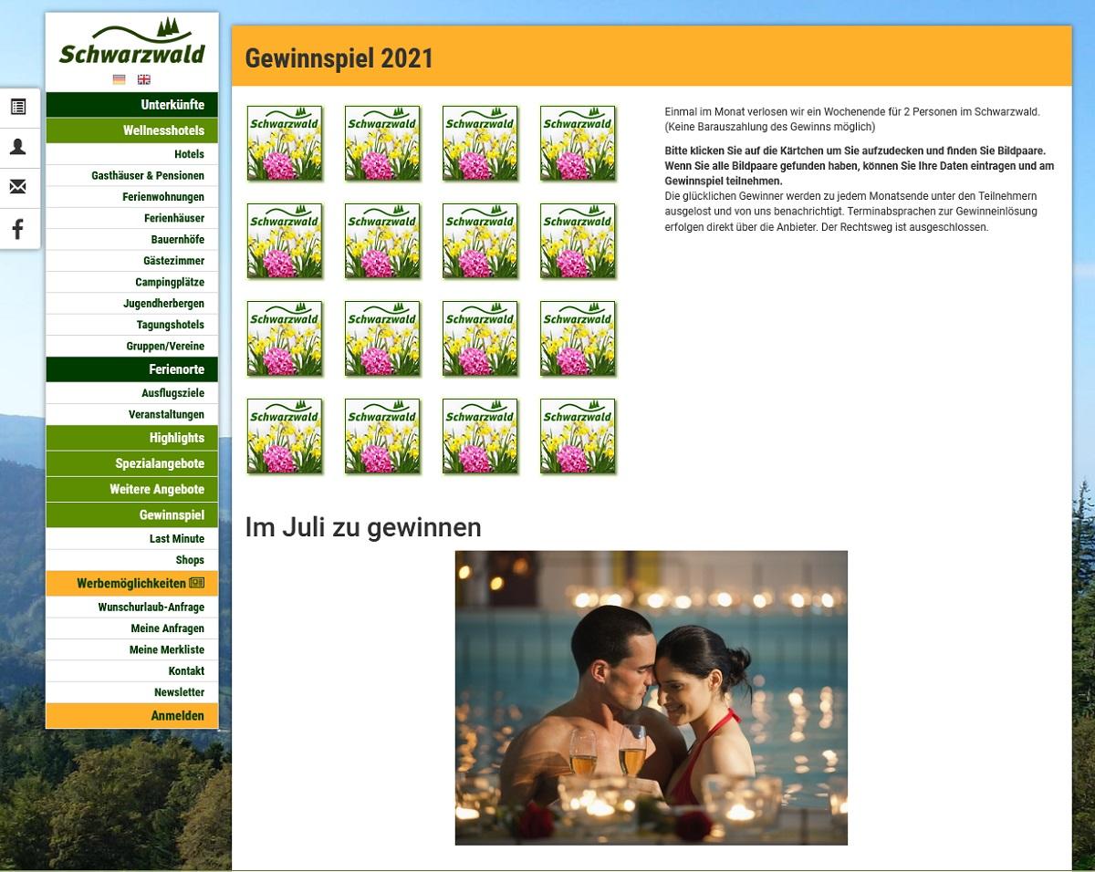 Monatlich Hotelaufenthalt für 2 gewinnen schwarzwald.de Gewinnspiel