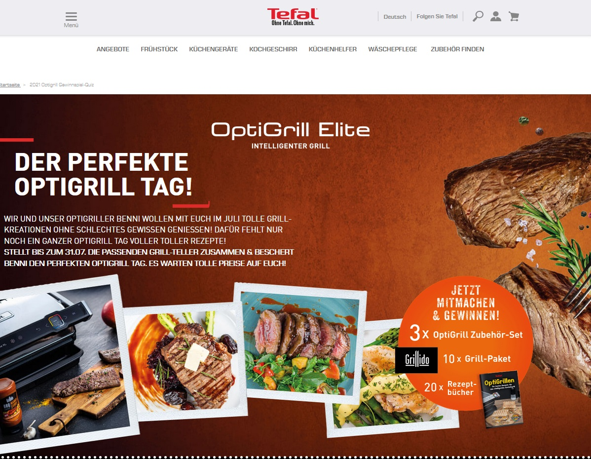Tefal Gewinnspiel Gewinne jetzt Grills und Zubehör