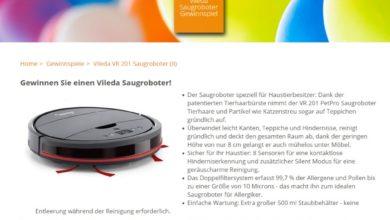 Homeplaza Gewinnspiel Gewinne jetzt einen Vileda VR 201 PetPro Saugroboter