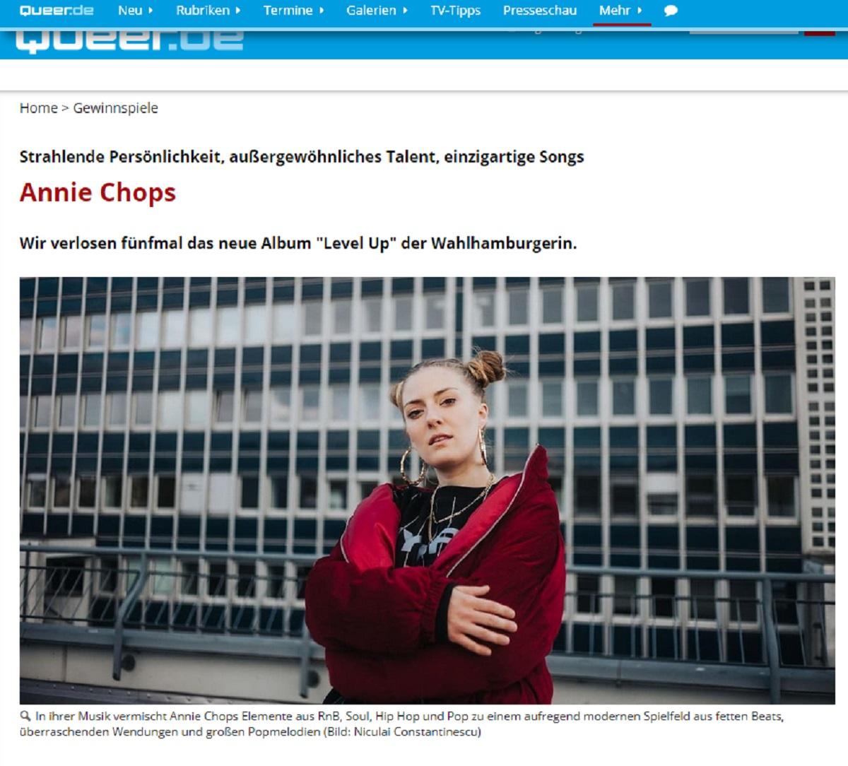 Jetzt Level Up von Annie Chops gewinnen queer.de Gewinnspiel