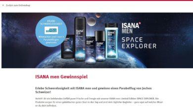 Jetzt Parabelflug von Jochen Schweizerl gewinnen ISANA men Gewinnspiel