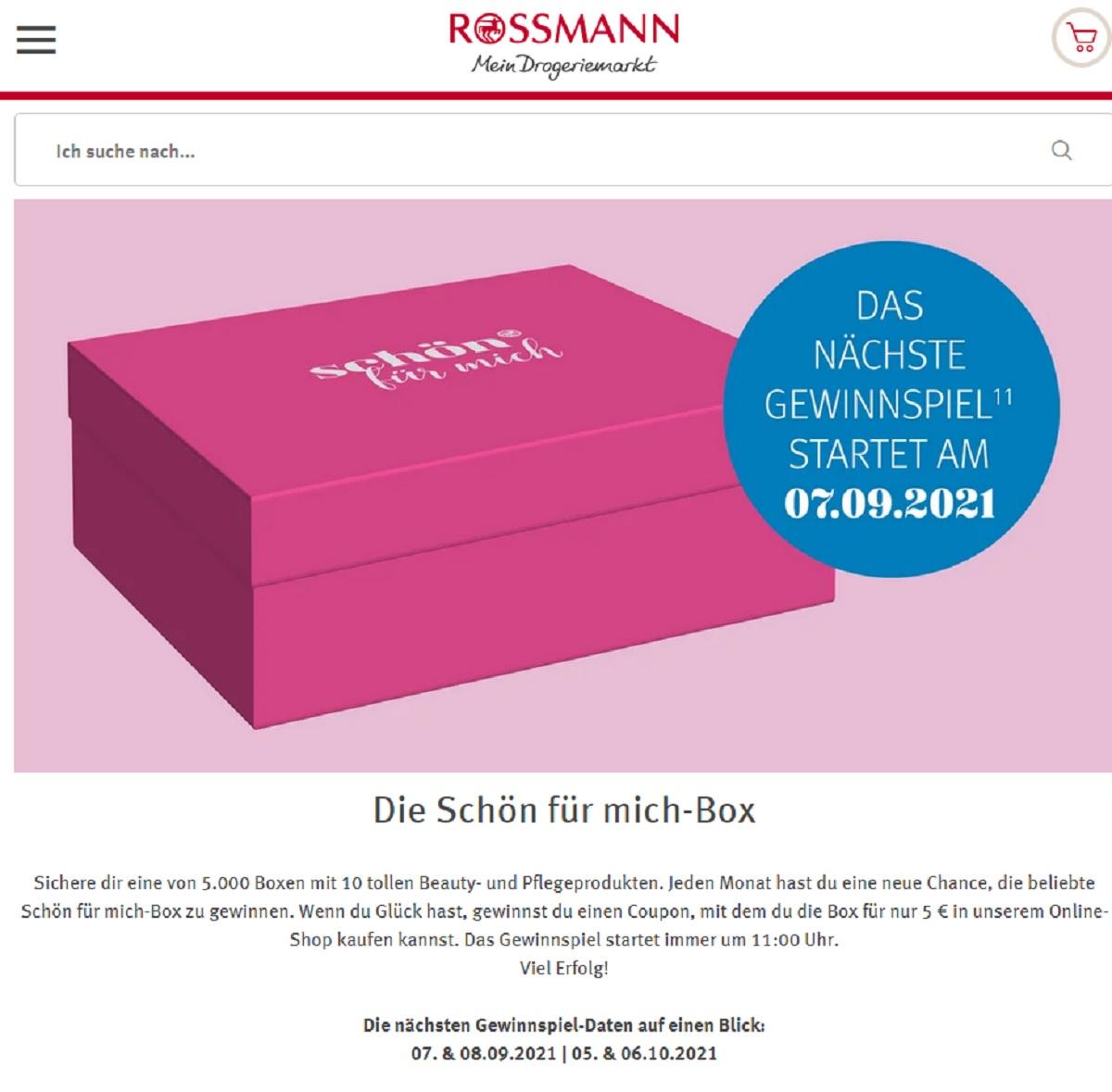 Jetzt Schön für mich-Box gewinnen: Rossmann Gewinnspiel