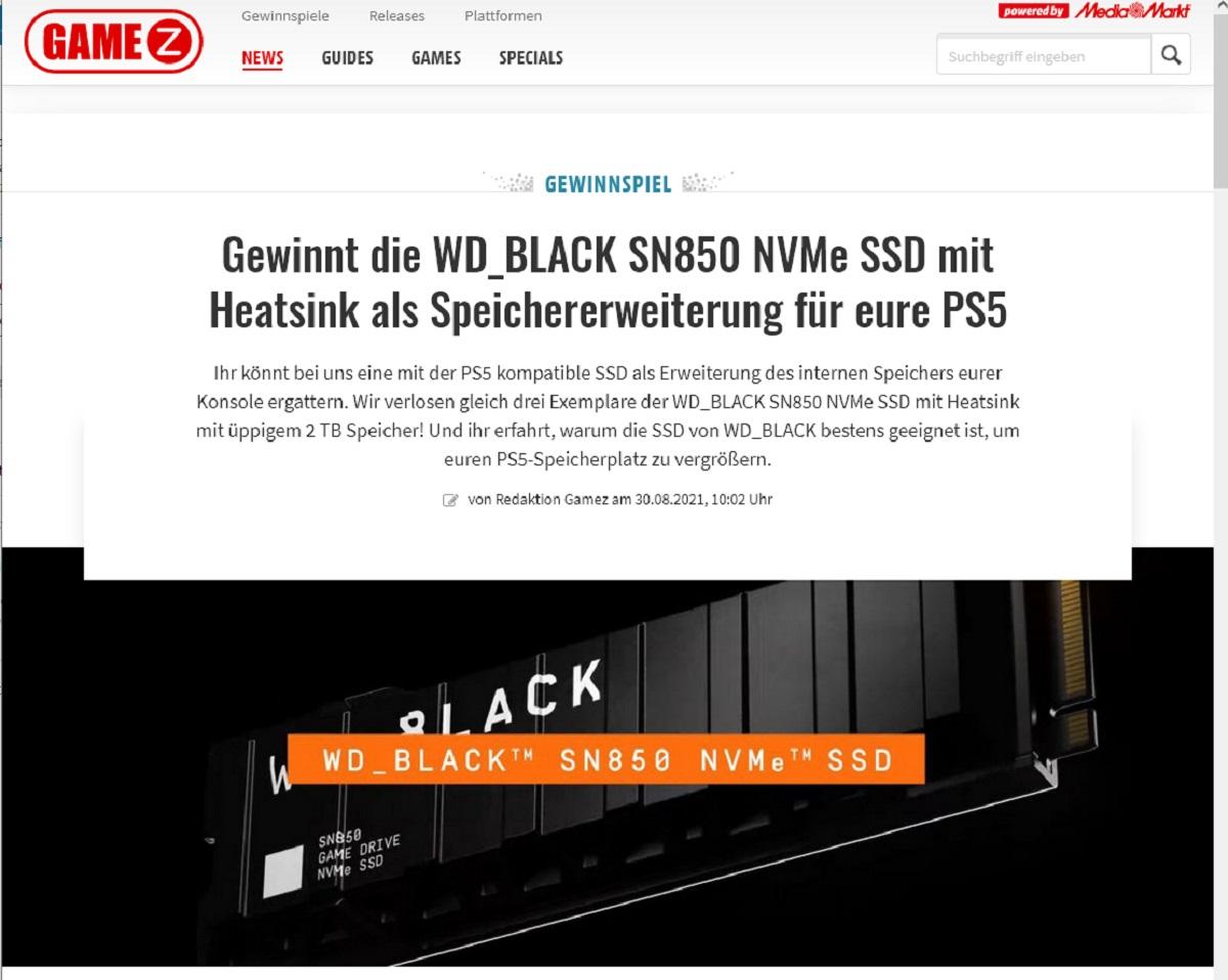GameZ Gewinnspiel: Gewinne jetzt eine WD_BLACK SN850 NVMe SSD