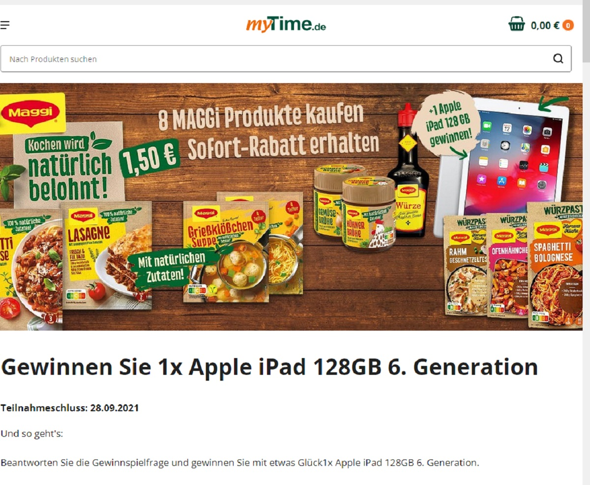 Gewinne ein Apple iPad 128GB 6. Generation myTime Gewinnspiel