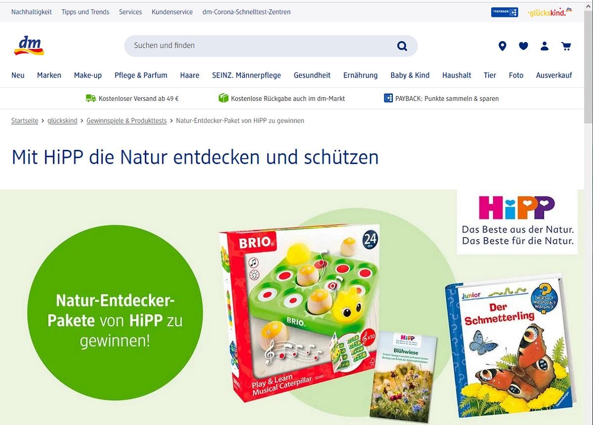 Gewinne ein HIPP-Entdecker-Paket: DM Gewinnspiel