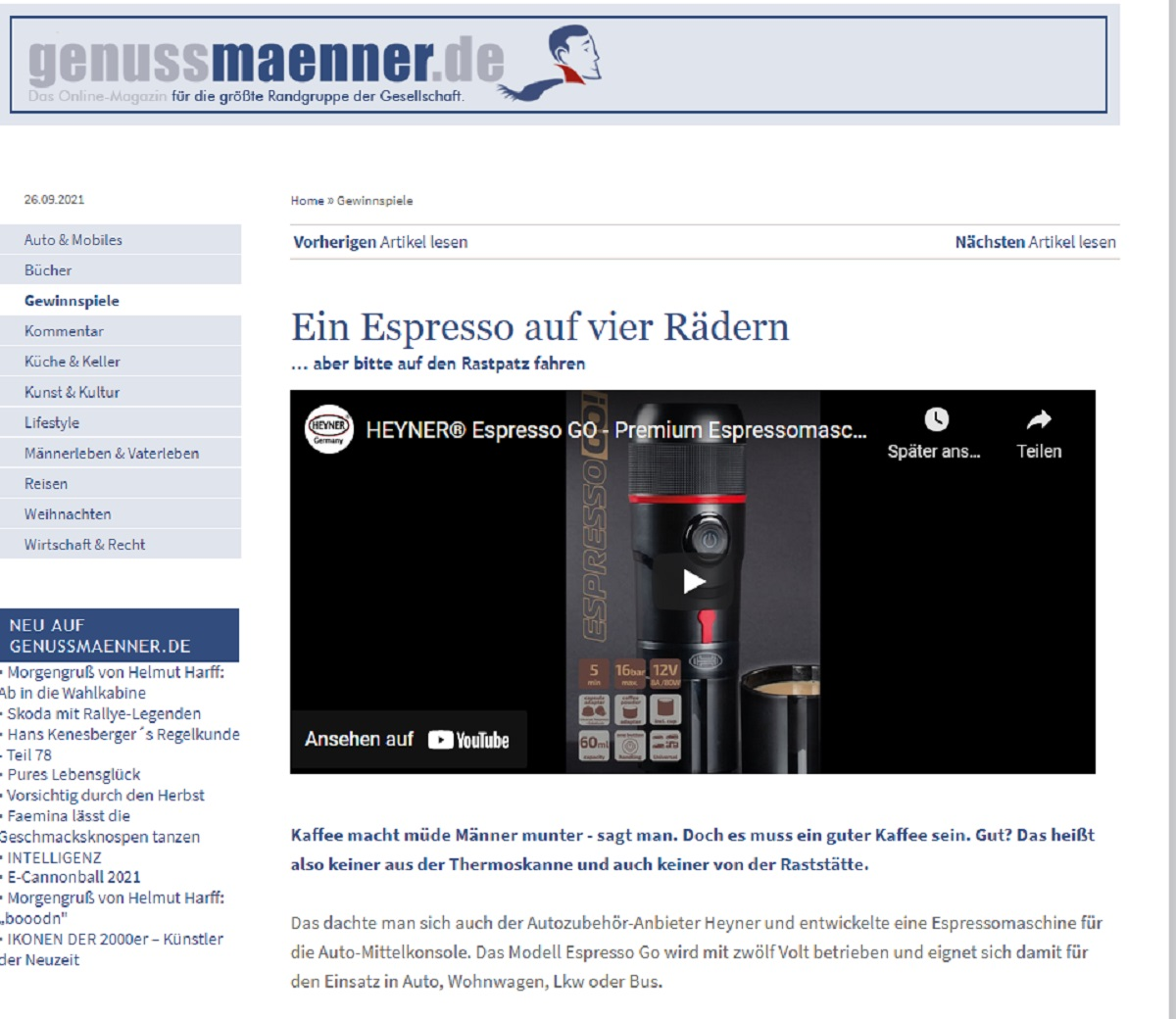 Gewinne eine Espresso Go von HEYNER genussmaenner.de Gewinnspiel