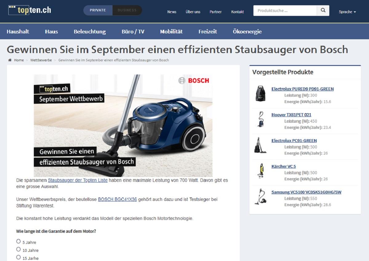 Jetzt Bosch BGC41X36 Staubsauger gewinnen – topten Gewinnspiel
