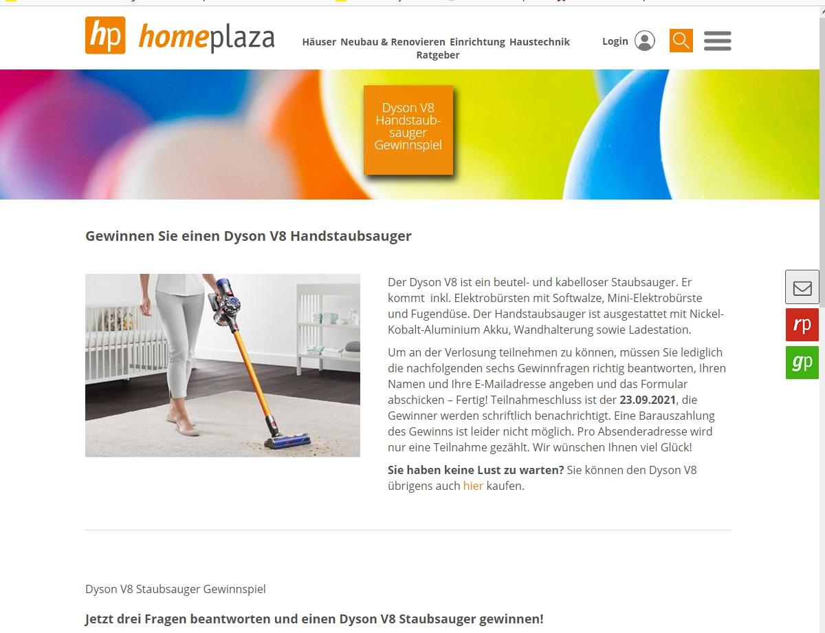Jetzt Dyson V8 gewinnen: homeplaza.de Gewinnspiel