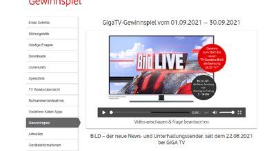 Jetzt teilnehmen und Samsung QLED TV GQ55Q77T gewinnen: Vodafone & BILD Gewinnspiel