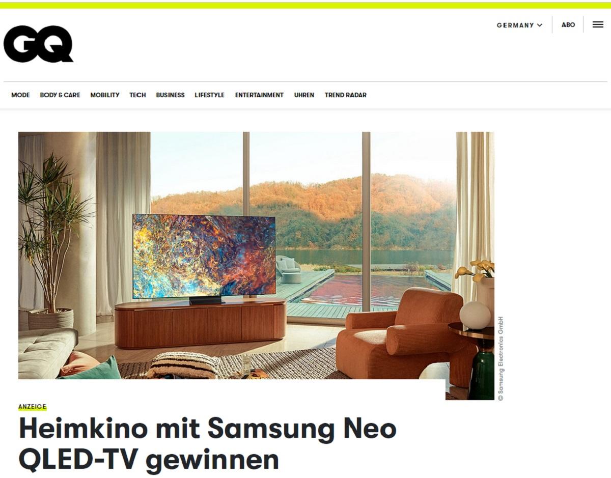 Samsung Neo QLED 4K TV QN95A gewinnen: GQ Magazin Gewinnspiel
