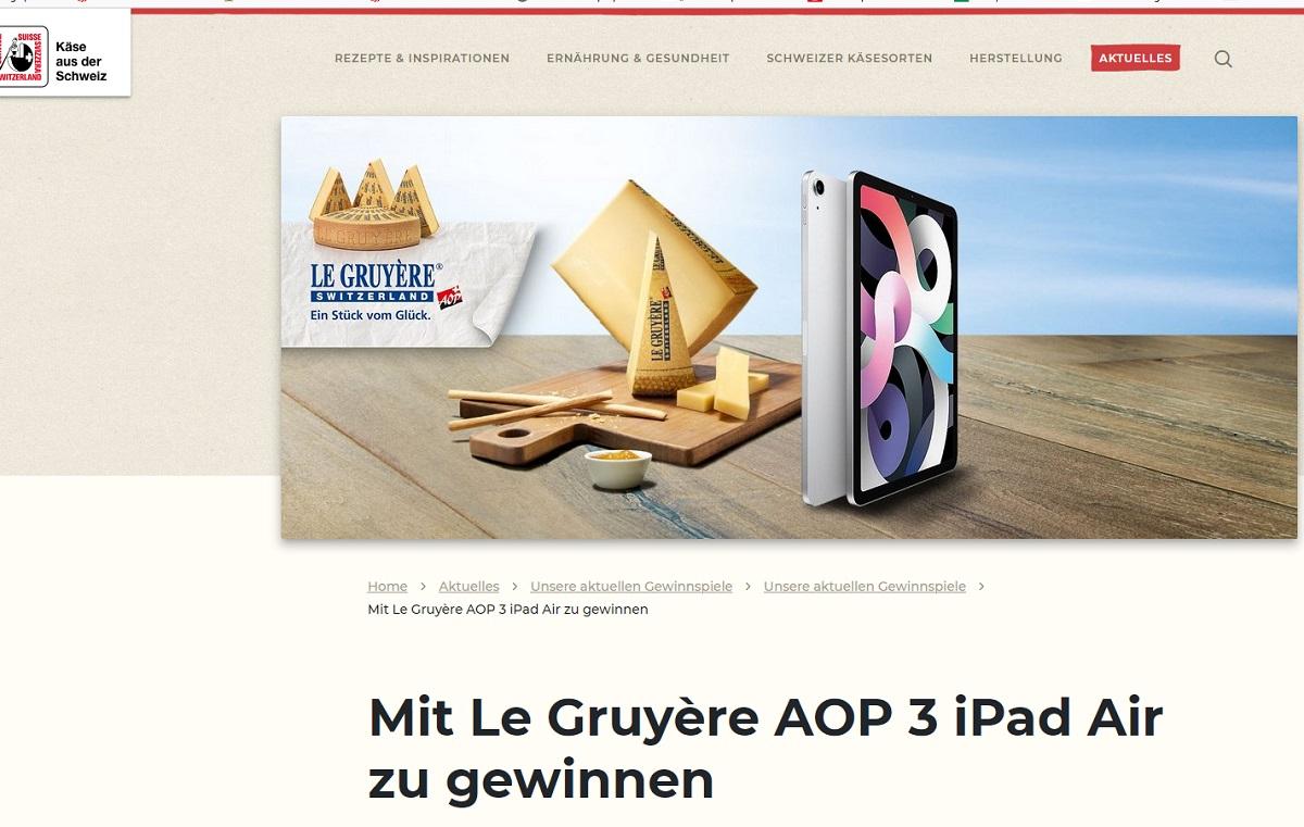 iPad Air 4. Generation gewinnen Schweizer Käse Gewinnspiel