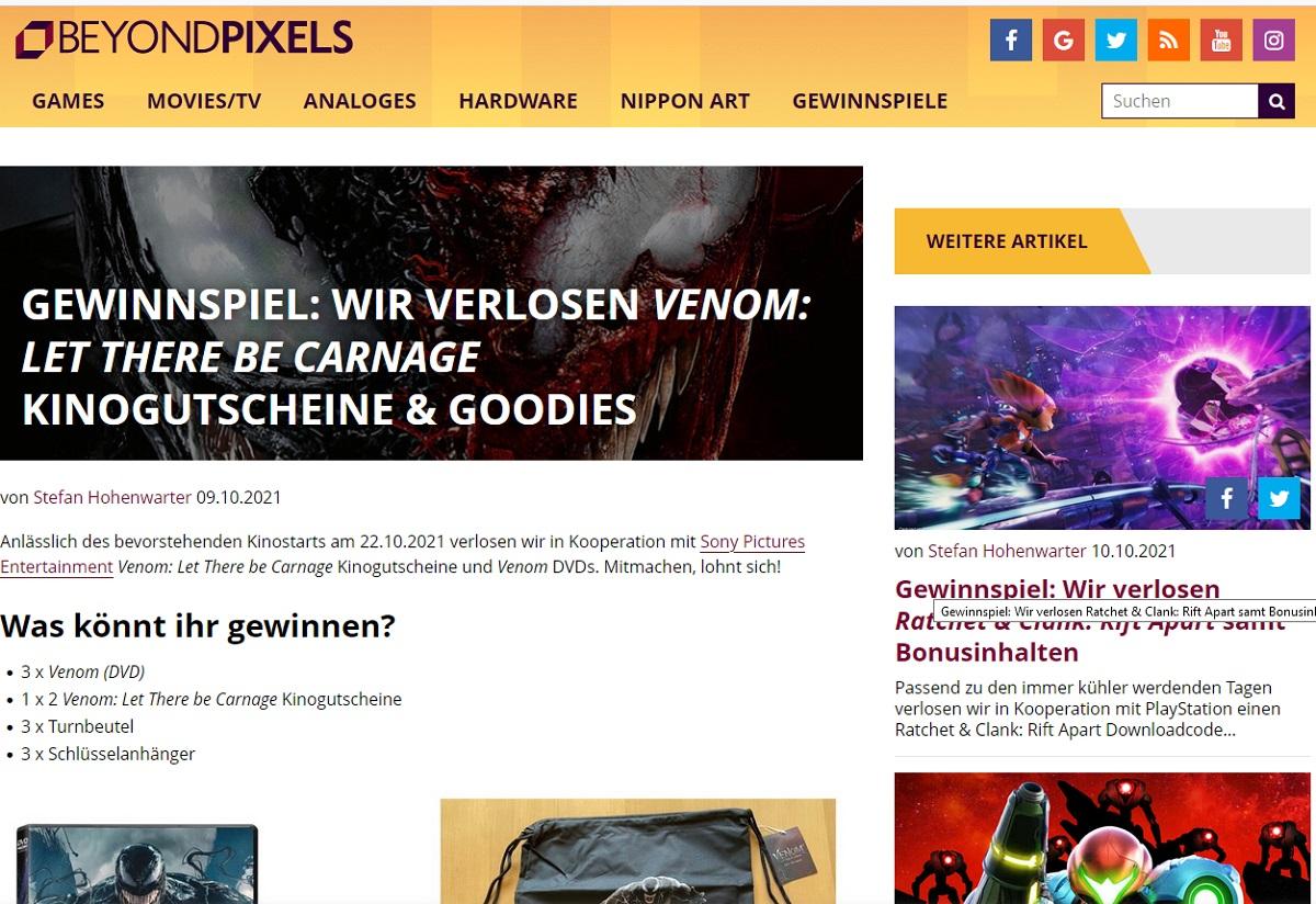 Gewinne Venom Let There be Carnage Kinogutscheine Beyondpixels Gewinnspiel
