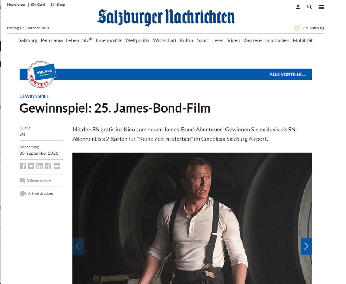Jetzt James-Bond-Kinotickets (Salzburg) gewinnen: Salzburger Nachrichten Gewinnspiel