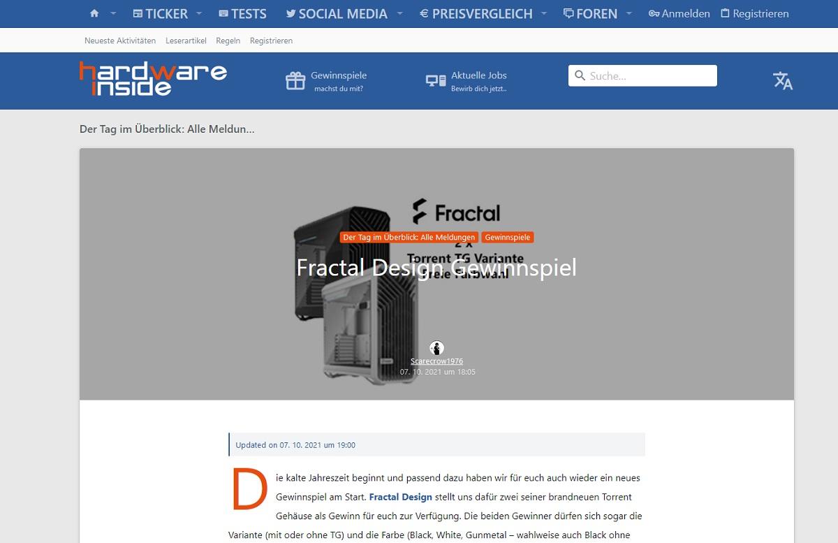 Jetzt teilnehmen und Fractal Design Torrent Gehäuse gewinnen Hardwareinside Gewinnspiel