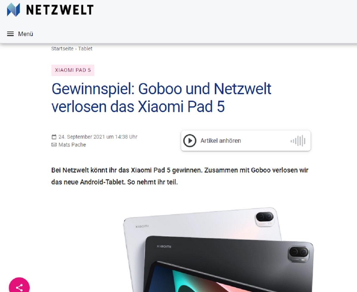 Jetzt teilnehmen und Xiaomi Pad 5 gewinnen: Goboo und Netzwelt Gewinnspiel